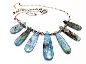 Necklace Kyanite, Chrystals, and Sterling Silver